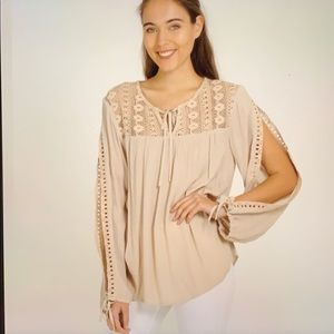 Loveriche taupe open slit long sleeve Top